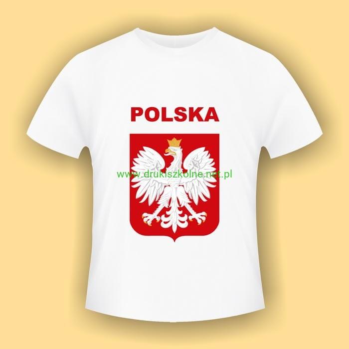 b7755e93382e Koszulka z Godłem Polski wzór 2 - biała koszulka bawełniana (t-shirt) z  kolorowym nadrukiem