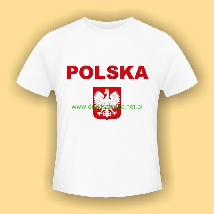 eef792c70774 Koszulka z Godłem Polski wzór 3 - biała koszulka bawełniana (t-shirt) z  kolorowym nadrukiem